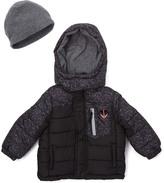 London Fog Black Geometric Puffer Coat & Beanie - Boys