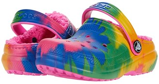 Crocs Classic Lined Tie-Dye Graphic Clog (Toddler/Little Kid/Big Kid) (Electric Pink/Multi) Kid's Shoes