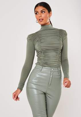 Missguided Sage High Neck Ruched Long Sleeve Bodysuit