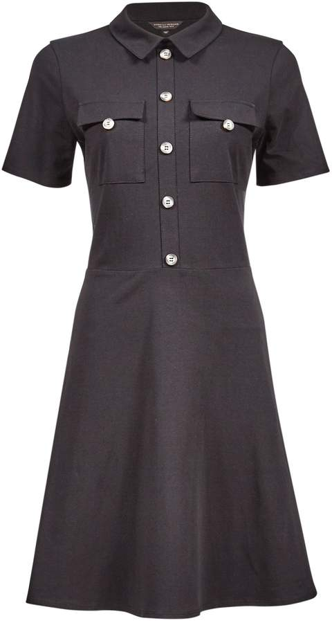 Dorothy Perkins Womens Black Utility Horn Effect Button Fit And Flare Dress