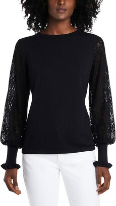 Vince Camuto Lace Sleeve Sweater