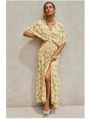 FS Collection V Neck & Back Detail Bohemian Style Maxi Dress In Olive Yellow Floral Print