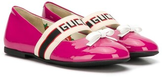Gucci Kids Logo Stripe Ballerina Shoes