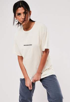 Missguided Sand Embroidered Oversized T Shirt