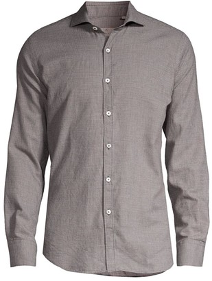 Canali Micro-Print Woven Cotton & Wool Shirt