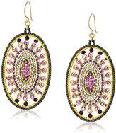 Miguel Ases Large Modern Abstract Swarovski Open Circle Border Oval Hoop Earrings