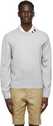 Thom Browne Grey Merino RWB Tab Relaxed-Fit Sweater