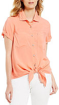 Intro Petites Short Sleeve Button Down Solid Tie-Front Top