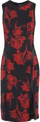 Roberto Cavalli Satin-trimmed Floral-print Ponte Dress