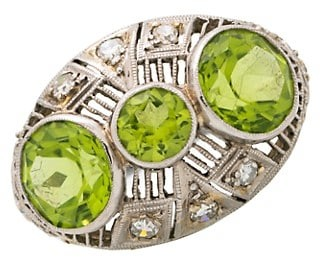 Stephanie Windsor Late Victorian Platinum, Peridot & Diamond Ring