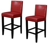 Monsoon Villa Faux Leather Red Counter Stools (Set of 2)