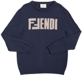 Fendi Logo Intarsia Wool Knit Sweater
