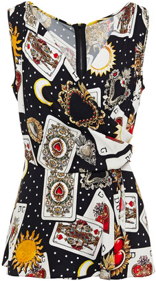 Dolce & Gabbana Wrap-effect Printed Silk-blend Crepe Top