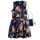 Knitworks Girls 7-16 Floral Skater Dress with Poof Purse