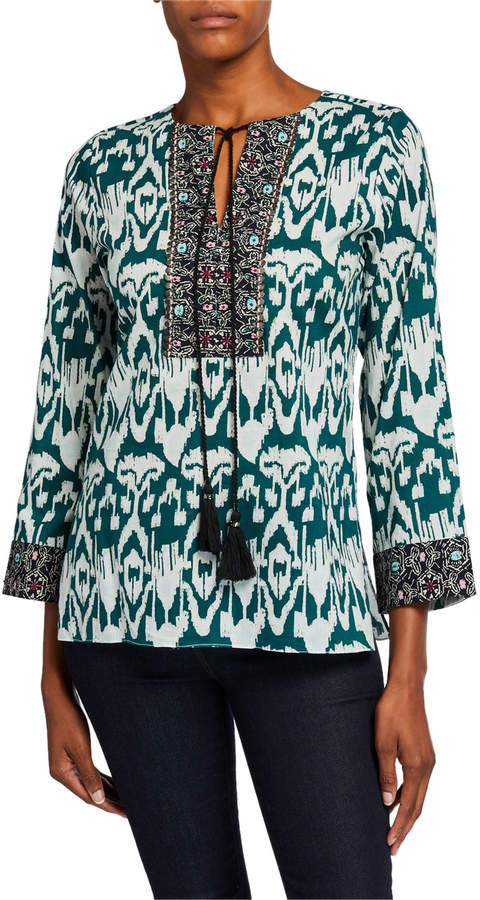 Bella Tu Ikat Tassel-Tie Cotton Tunic