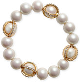 Charter Club Gold-Tone Imitation Pearl Pavé Stretch Bracelet, Only at Macy's