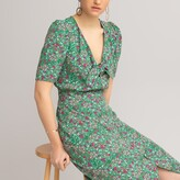 Thumbnail for your product : La Redoute Collections Floral Print Midaxi Dress with Short Puff Sleeves and Split