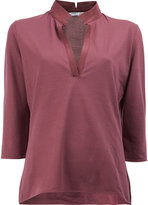 Lamberto Losani v-neck cropped sleeve blouse