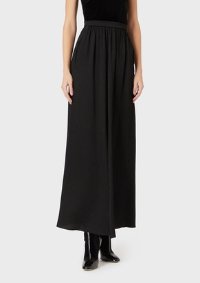 Giorgio Armani Long Crepon Satin Skirt With Slit
