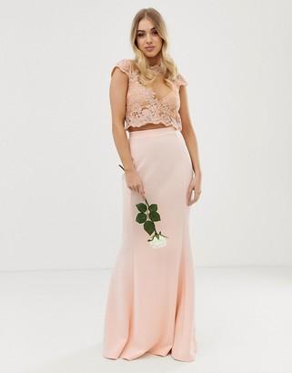 Club L London bridesmaid scuba panel detail maxi skirt-Pink