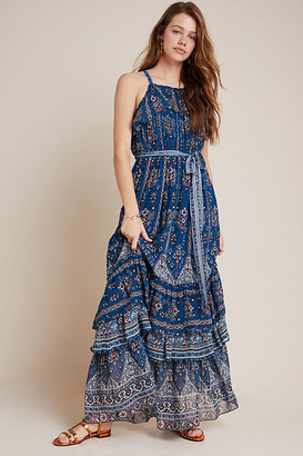 Anthropologie Sasha Ruffled Maxi Dress By in Blue Size S