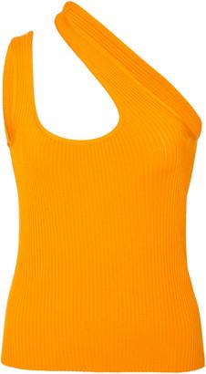 Zimmermann Brightside Asymmetric Ribbed-Knit Tank Top