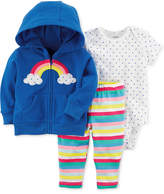 Carter's 3-Pc. Cotton Rainbow Hoodie, Dot-Print Bodysuit & Striped Pants Set, Baby Girls