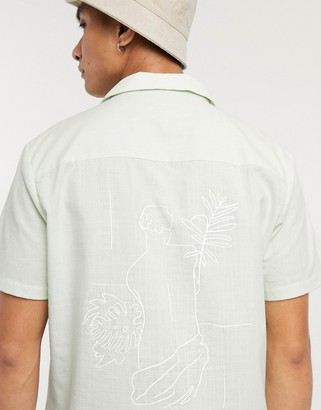 ASOS DESIGN revere collar overshirt in slub cotton with embroidery placement