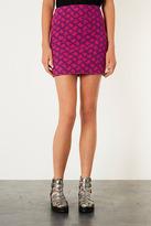 Topshop Pink Jacquard Mini Skirt