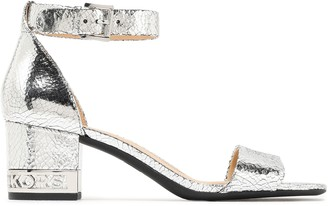 MICHAEL Michael Kors Logo-embellished Metallic Cracked-leather Sandals