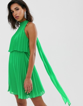 Asos DESIGN halter tie neck mini dress in pleat