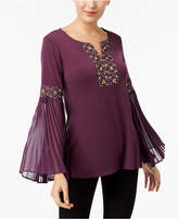 JM Collection Embroidered Bell-Sleeve Blouse