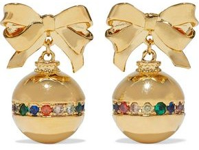 Noir Small Ornament 14-karat Gold-plated Crystal Earrings