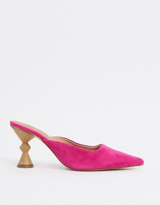 ASOS DESIGN Soda suede mid heeled mules in pink
