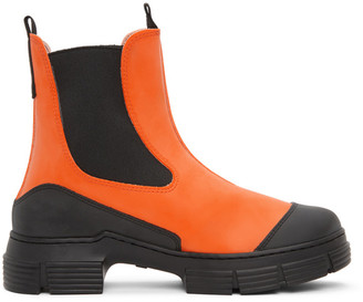 Ganni Orange Recycled Rubber City Boots