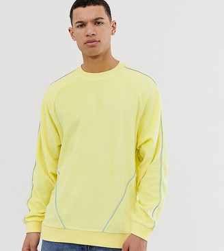 Asos Design DESIGN Tall oversized sweatshirt in towelling with piping in yellow