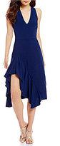Betsey Johnson V-Neck Side Ruffle Midi Dress