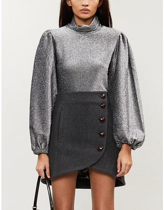 Ganni Puffed-sleeve turtleneck metallic-knit top