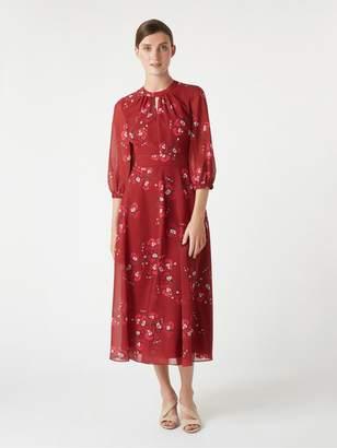 Hobbs Samantha Orchid Tea Dress - Burgundy Cerise