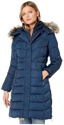 Bernardo Fashions Faux Fur Hooded Chevron Parka (Black) Women's Jacket