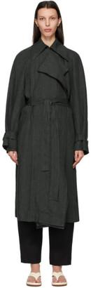 Low Classic Green Linen Trench Coat