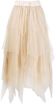 Peserico Tiered Handkerchief-Hem Tulle Skirt