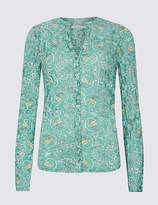 Marks and Spencer Cotton Rich Floral Print Long Sleeve Shirt