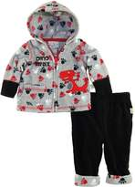 Duck Duck Goose Duck Goose Baby Boys Dino Trax Print Micro Polar Fleece Hooded Jacket Pant Set