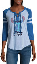 Freeze 3/4 Sleeve V Neck Lilo & Stitch T-Shirt-Womens Juniors
