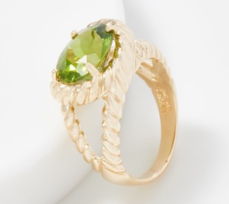 14K Gold East-West Gemstone Ring with Rope Detailing