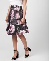 Le Château Floral Print Satin Full Skirt