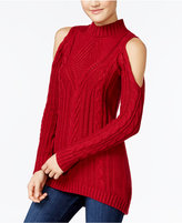 Jessica Simpson Riva Cold-Shoulder Cable-Knit Sweater