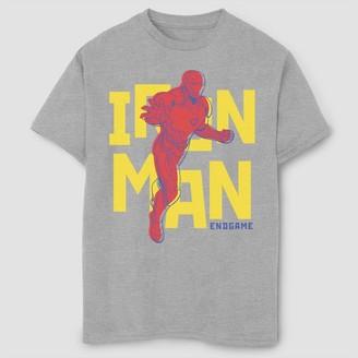 Marvel Boys' arvel Text Pop Iron an Short Sleeve T-Shirt - Athletic Heather