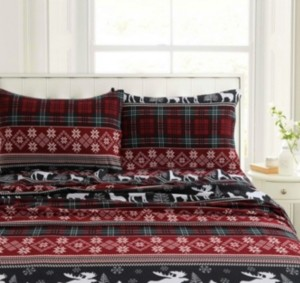 Tribeca Living Holiday Print Heavyweight Flannel Extra Deep Pocket Twin Sheet Set Bedding